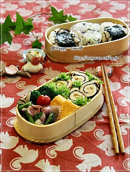 きつねと磯辺で肉巻きロール弁当と常備菜作り♪_f0348032_18123921.jpg