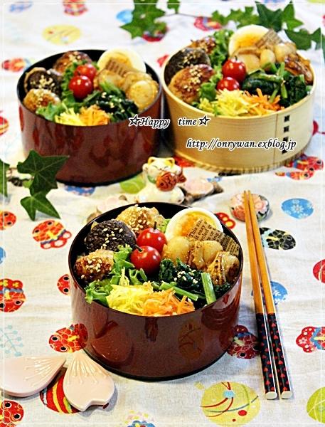 椎茸つくねの照焼きでのっけ盛り弁当と今日のわんこ♪_f0348032_18301561.jpg