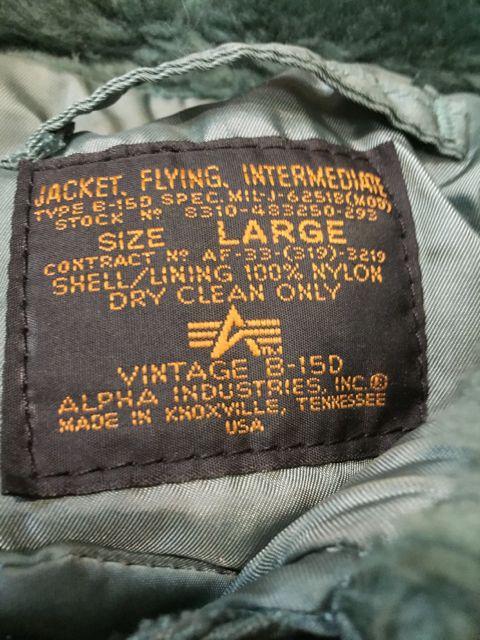 90s〜アルファ社 MADE IN U.S.A B-15D 民生品_c0144020_13161847.jpg