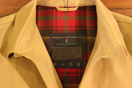 "Mackintosh by Francis Campelli ltd ""SINGLE BREASTED COAT\"" ご紹介_f0191324_08321372.jpg"