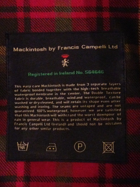 "Mackintosh by Francis Campelli ltd ""SINGLE BREASTED COAT\"" ご紹介_f0191324_09342273.jpg"