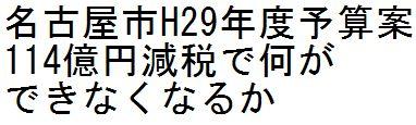 名古屋市H29年度予算案 114億円減税で何ができなくなるか_d0011701_1005169.jpg