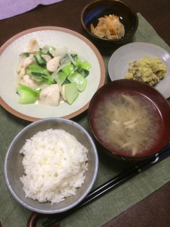 鶏肉とチンゲン菜の炒め物_d0235108_20092585.jpg