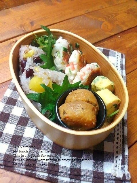 12.1【レシピ付】栗と豆入りもち麦おこわ弁当_e0274872_02390730.jpg