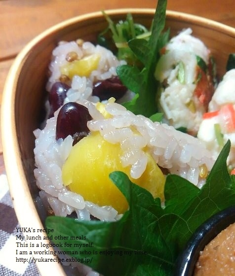 12.1【レシピ付】栗と豆入りもち麦おこわ弁当_e0274872_02402333.jpg
