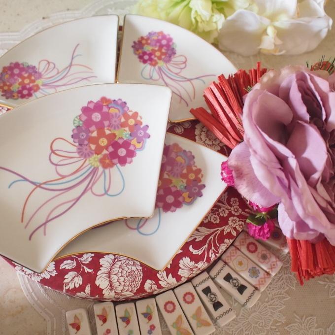新春準備 扇皿とお箸置きセット_a0230197_08103539.jpg