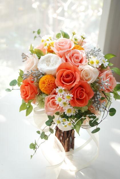 オレンジローズのクラッチブーケ!_a0136507_22524673.jpg