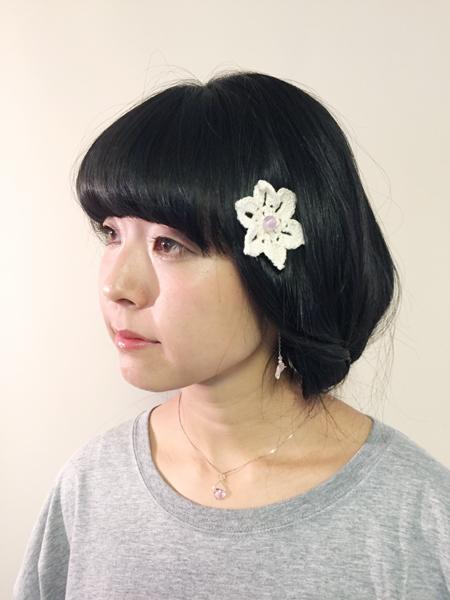 手編みのお花 ヘアピン ラベンダーアメジスト (4018)_e0104046_04102320.jpg