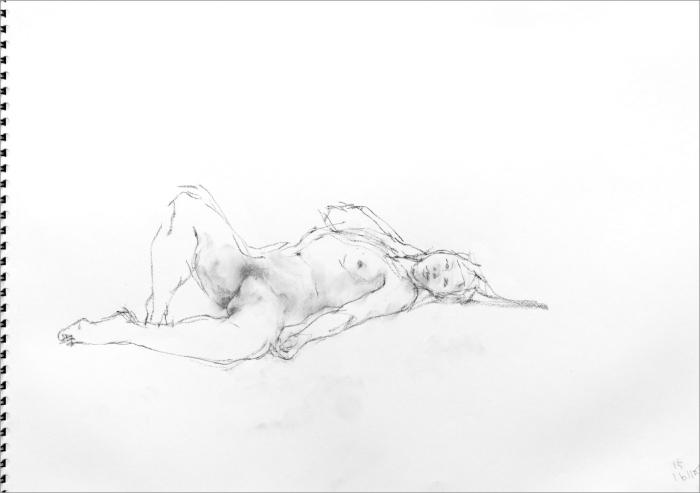 《 素描・・・ 横たわる裸婦 2 》_f0159856_08214386.jpg