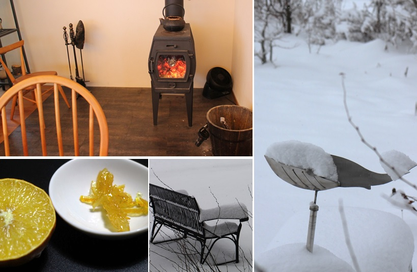 薪ストーブと雪飾りと柚子_a0212730_1813672.jpg