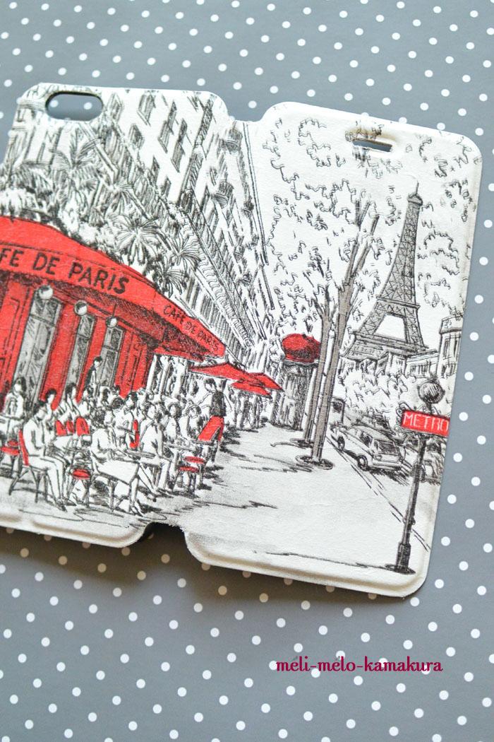 ◆デコパージュ*オーダーいただきました。手帳型スマホケースをパリのカフェ柄に♪_f0251032_1638086.jpg