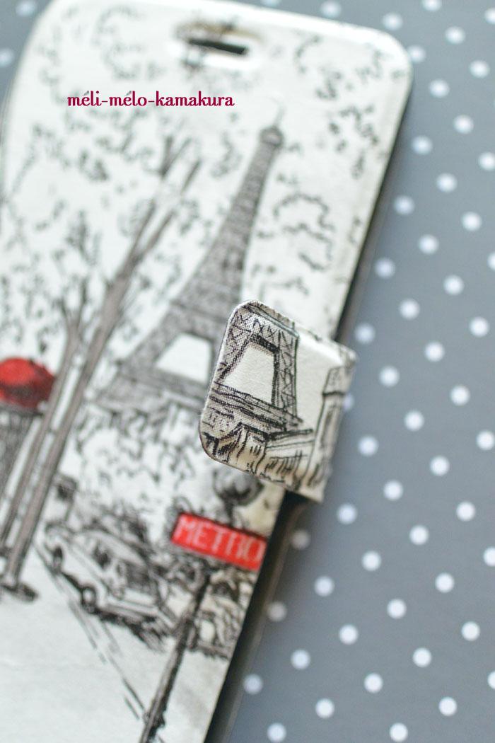 ◆デコパージュ*オーダーいただきました。手帳型スマホケースをパリのカフェ柄に♪_f0251032_16383190.jpg