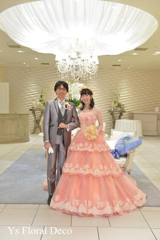 サーモンピンクのドレスにあわせるブーケと花冠_b0113510_09205735.jpg