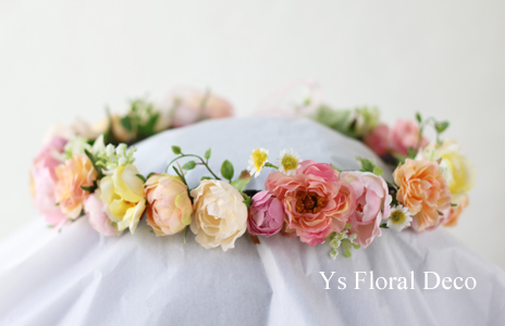 サーモンピンクのドレスにあわせるブーケと花冠_b0113510_09213879.jpg