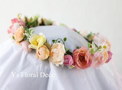 サーモンピンクのドレスにあわせるブーケと花冠_b0113510_09214629.jpg