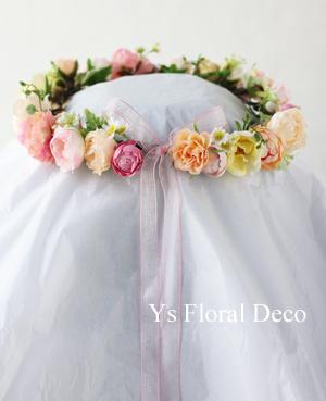 サーモンピンクのドレスにあわせるブーケと花冠_b0113510_09215426.jpg