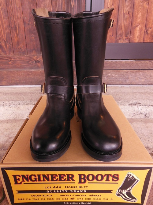 Attractions 新型 Lot.444 ENGINEER BOOTS(HORSE BUTT)エンジニアブーツ/BLACK,入荷_c0187684_137452.jpg