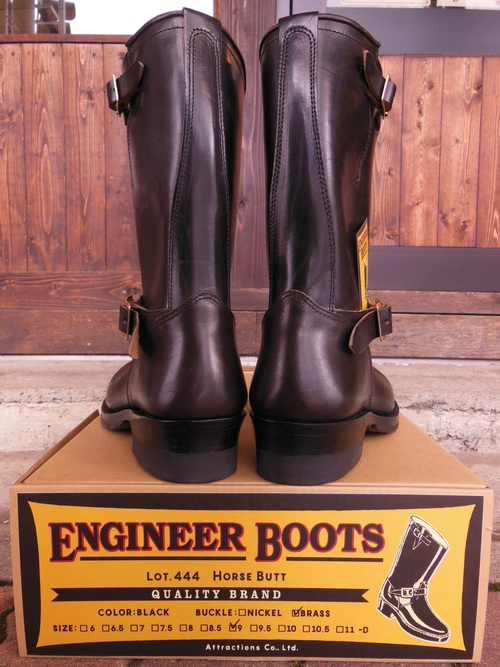 Attractions 新型 Lot.444 ENGINEER BOOTS(HORSE BUTT)エンジニアブーツ/BLACK,入荷_c0187684_1381453.jpg