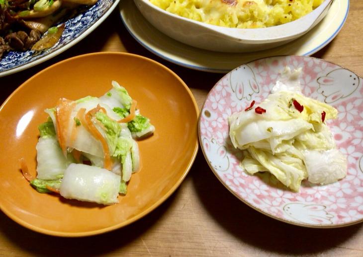 父の白菜でお漬け物2種☆_f0183846_18503052.jpg