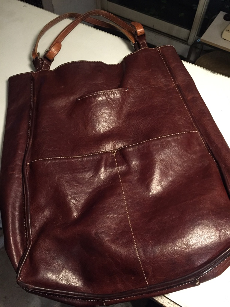 Bag レザーバッグ 角破れ 革物 リメイク _b0178425_16342049.jpg