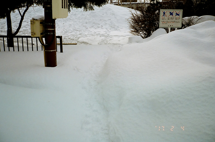 住宅街の積雪模様とさっぽろ雪まつり開催_c0182775_1875336.jpg