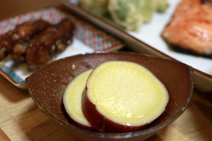 サツマイモの蜂蜜レモン煮。フキノトウの天婦羅。_f0348831_11585308.jpg