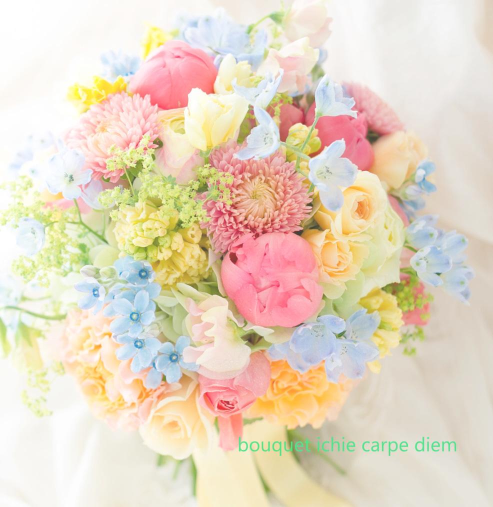 クラッチブーケ アルカンシェル南青山様へ、春、コーラル色の芍薬 イエローのドレスに_a0042928_12350035.jpg