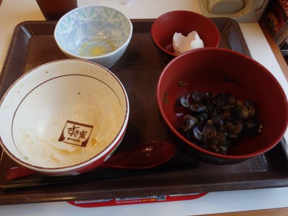 すき家の牛丼ミニしじみ汁たまごセット 南塚口七丁目店_c0118393_10104726.jpg