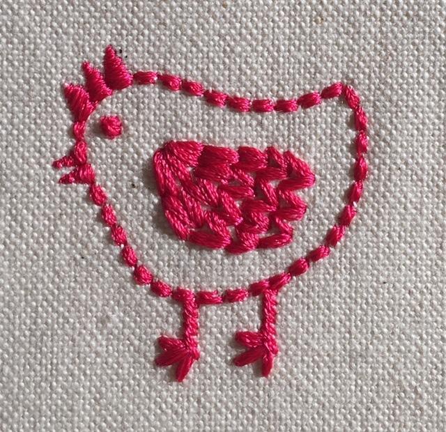 手刺繍風の可愛い鶏刺繍♪_c0316026_18120367.jpg