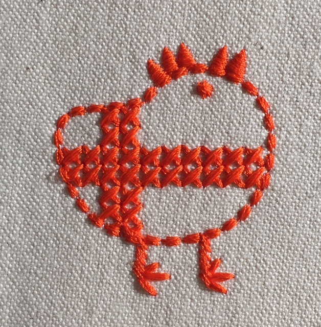 北欧風クロスステッチ柄の鶏刺繍♪_c0316026_18091328.jpg