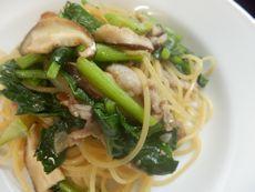 2/23本日パスタ:豚肉とかき菜の和風スパゲティ_a0116684_11331153.jpg