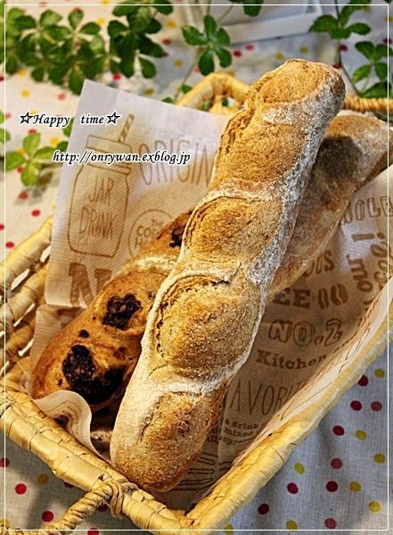 ミニハンバーグ弁当とリンゴ酵母でバゲットとわんこ♪_f0348032_18243774.jpg