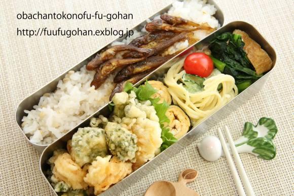 菜の花と海老のかき揚げ弁当(いさざの甘露煮も、入ってます。)_c0326245_11273997.jpg