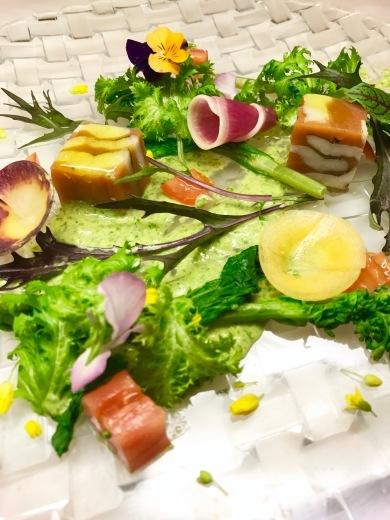 掛川の石山農園のトマトと穴子の燻製のテリーヌ 菜の花のマイオネーゼで_c0130206_11030895.jpg