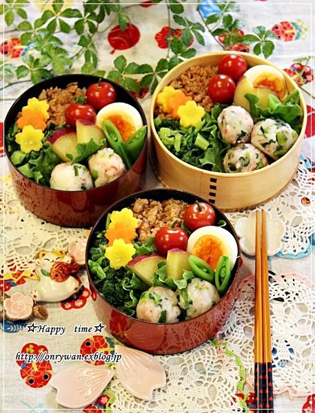 鶏そぼろ弁当と山3つの食パン♪_f0348032_19213567.jpg