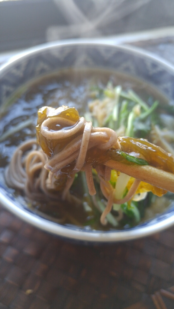 沖縄の「新もずく」で蕎麦_c0124528_11462519.jpg
