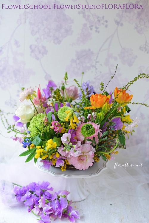 *2017年2月のレッスン*ガーデンスタイルのテーブルリース 不思議なドーナツバスケットに*東京目黒不動前フラワースタジオフローラフローラ ブーケ装花&フラワースクール_a0115684_21361646.jpg