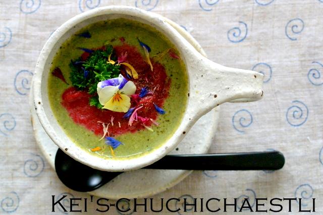 茅の舎さんの野菜だしでブロッコリーとビーツのスープ_c0287366_146212.jpg