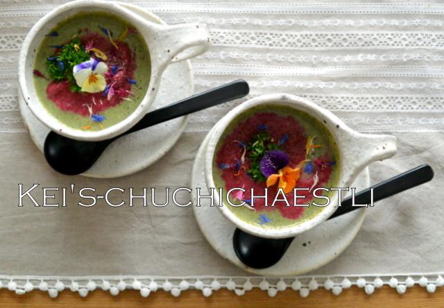 茅の舎さんの野菜だしでブロッコリーとビーツのスープ_c0287366_1581858.jpg