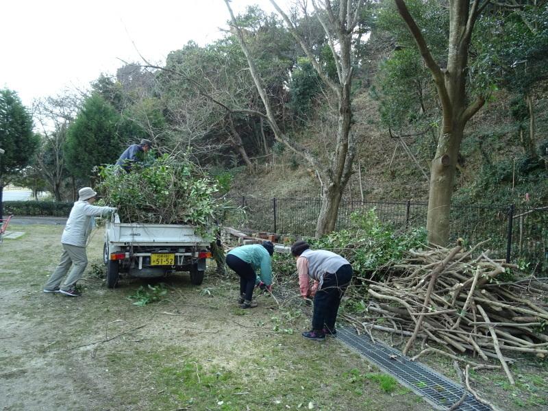 伐採木の片付けと手すり取り付け・・・うみべの森_c0108460_20294059.jpg