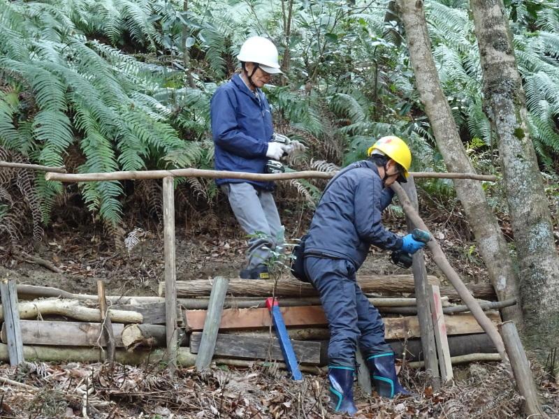 伐採木の片付けと手すり取り付け・・・うみべの森_c0108460_20314146.jpg