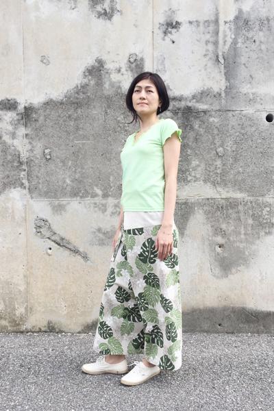 月下美人 Vネックカットソー 黄緑 (1335)_e0104046_412165.jpg