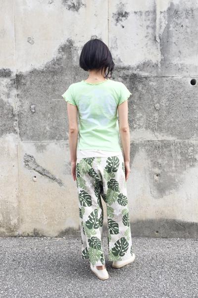 月下美人 Vネックカットソー 黄緑 (1335)_e0104046_417322.jpg
