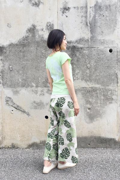 月下美人 Vネックカットソー 黄緑 (1335)_e0104046_4173490.jpg