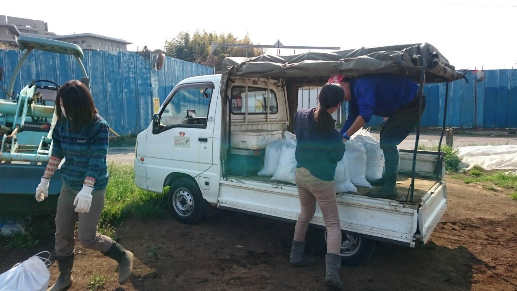 今日から1年半寝かした堆肥を畑に運び込みます 総勢5人_c0222448_15102917.jpg