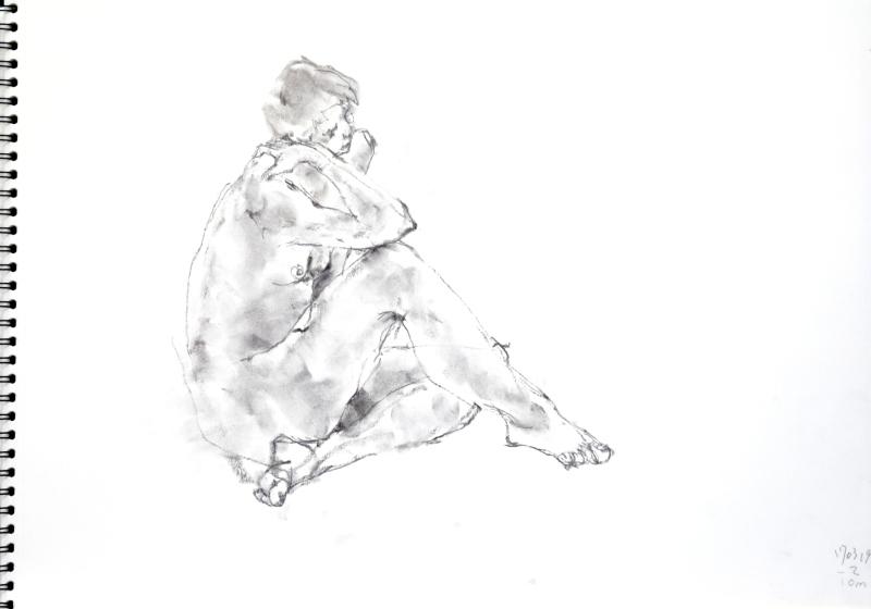 《 三月のある日の 「 裸婦クロッキー(croquis)」 1 》_f0159856_09391375.jpg