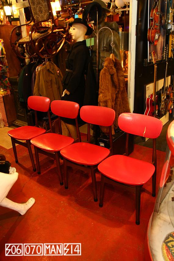 1970s Vintage 赤いレトロ食卓椅子4脚セット セール品_e0243096_17125603.jpg