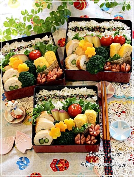 アスパラでチキンロール弁当と今夜は海鮮丼♪_f0348032_19035117.jpg