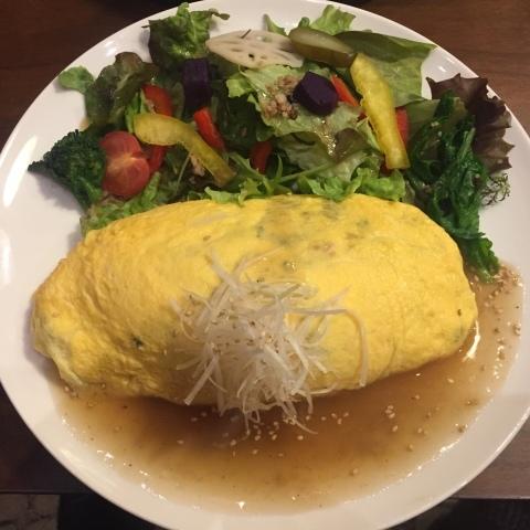 喫茶 1er ぷるみえ  (高菜と鶏そぼろご飯中華あんかけソース)_e0115904_15032040.jpg