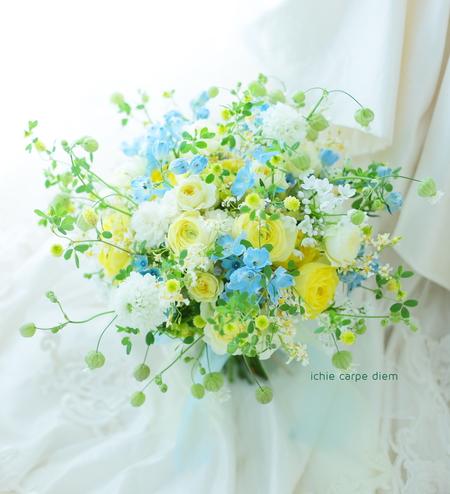 クラッチブーケ アニヴェルセル東京ベイ様へ 夢ほたる 水色のドレスに_a0042928_20573262.jpg